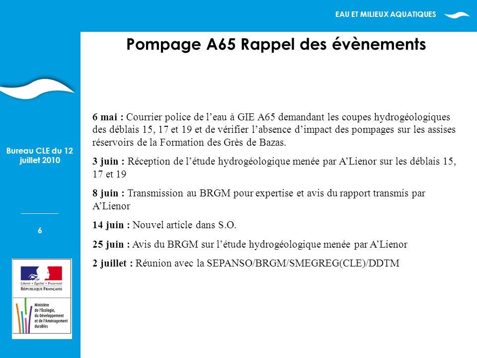 EAU ET MILIEUX AQUATIQUES 6 Bureau CLE du 12 juillet 2010 Pompage A65 Rappel des évènements 6 mai : Courrier police de leau à GIE A65 demandant les co