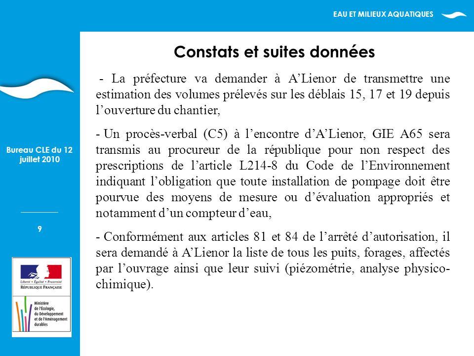 EAU ET MILIEUX AQUATIQUES 9 Bureau CLE du 12 juillet 2010 Constats et suites données - La préfecture va demander à ALienor de transmettre une estimati