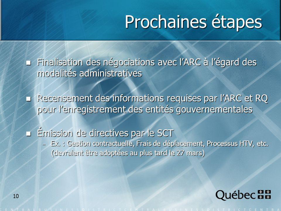 10 Prochaines étapes Finalisation des négociations avec lARC à légard des modalités administratives Finalisation des négociations avec lARC à légard des modalités administratives Recensement des informations requises par lARC et RQ pour lenregistrement des entités gouvernementales Recensement des informations requises par lARC et RQ pour lenregistrement des entités gouvernementales Émission de directives par le SCT Émission de directives par le SCT Ex.