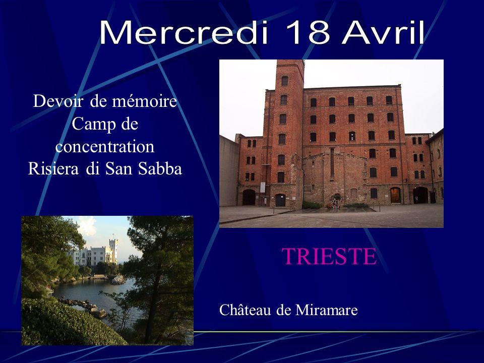 Devoir de mémoire Camp de concentration Risiera di San Sabba TRIESTE Château de Miramare