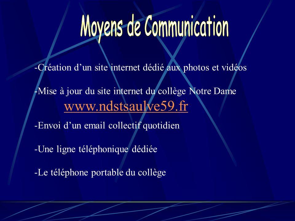 -Création dun site internet dédié aux photos et vidéos -Mise à jour du site internet du collège Notre Dame www.ndstsaulve59.fr -Envoi dun email collec
