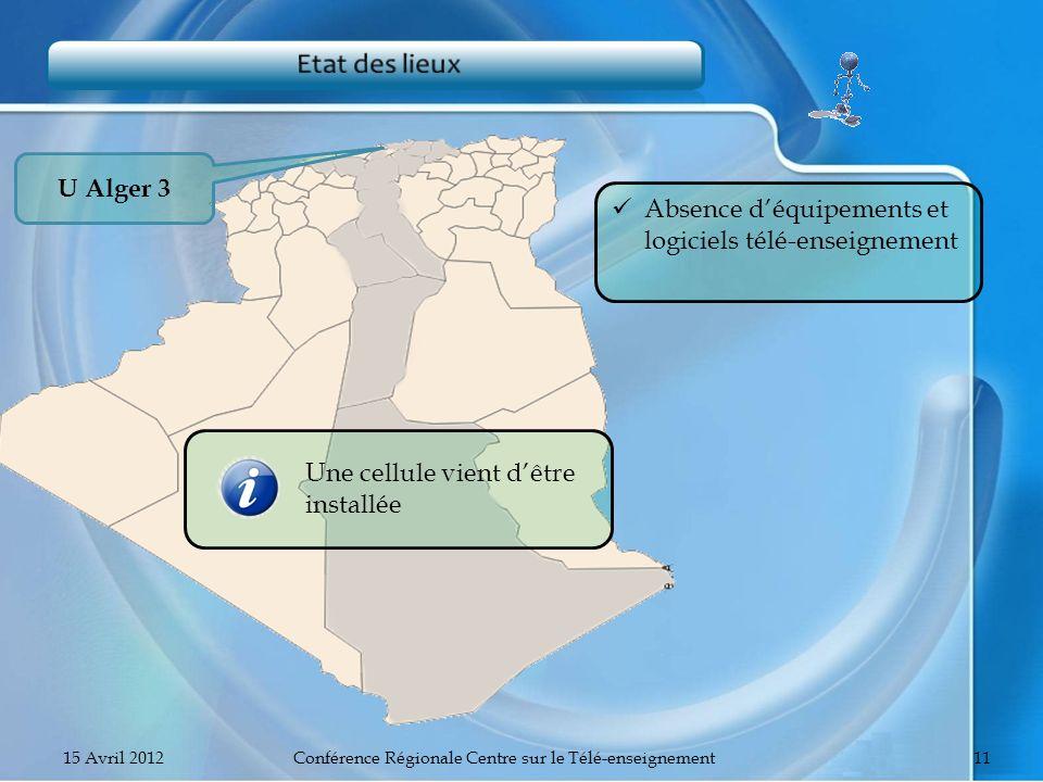 U Alger 3 Absence déquipements et logiciels télé-enseignement Une cellule vient dêtre installée 15 Avril 2012Conférence Régionale Centre sur le Télé-e