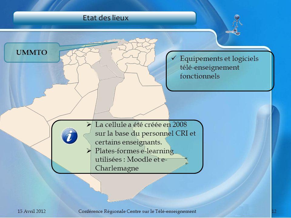 UMMTO Equipements et logiciels télé-enseignement fonctionnels La cellule a été créée en 2008 sur la base du personnel CRI et certains enseignants. Pla