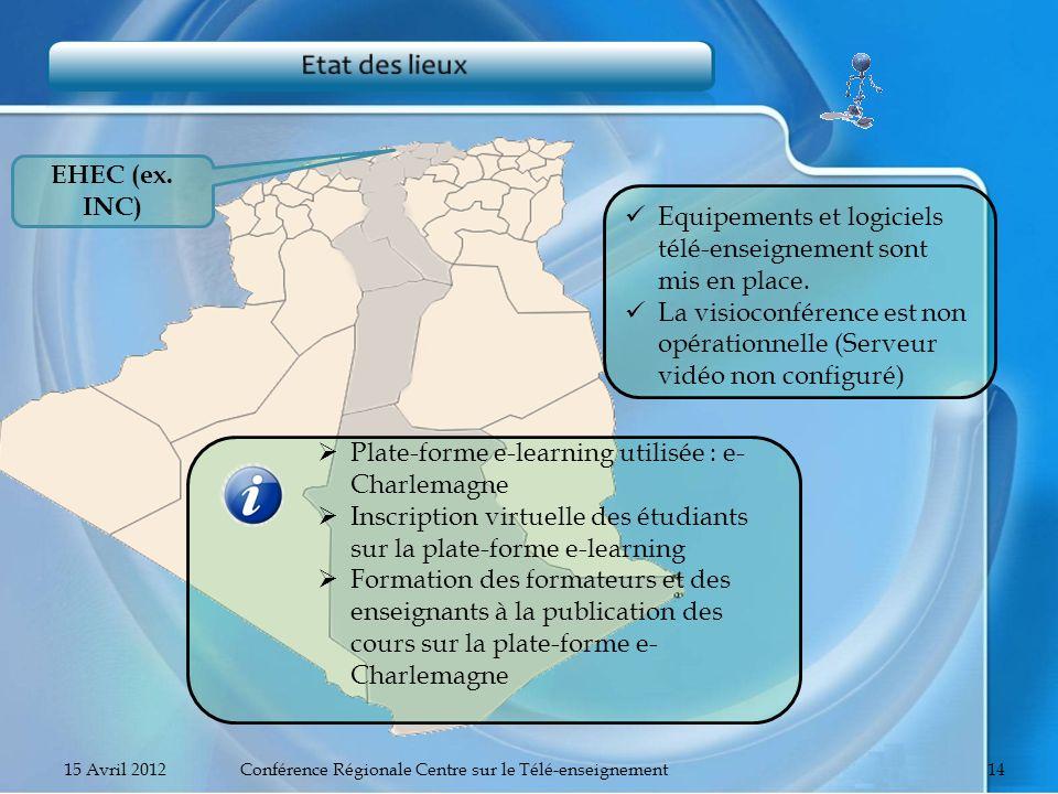 EHEC (ex. INC) Equipements et logiciels télé-enseignement sont mis en place. La visioconférence est non opérationnelle (Serveur vidéo non configuré) P