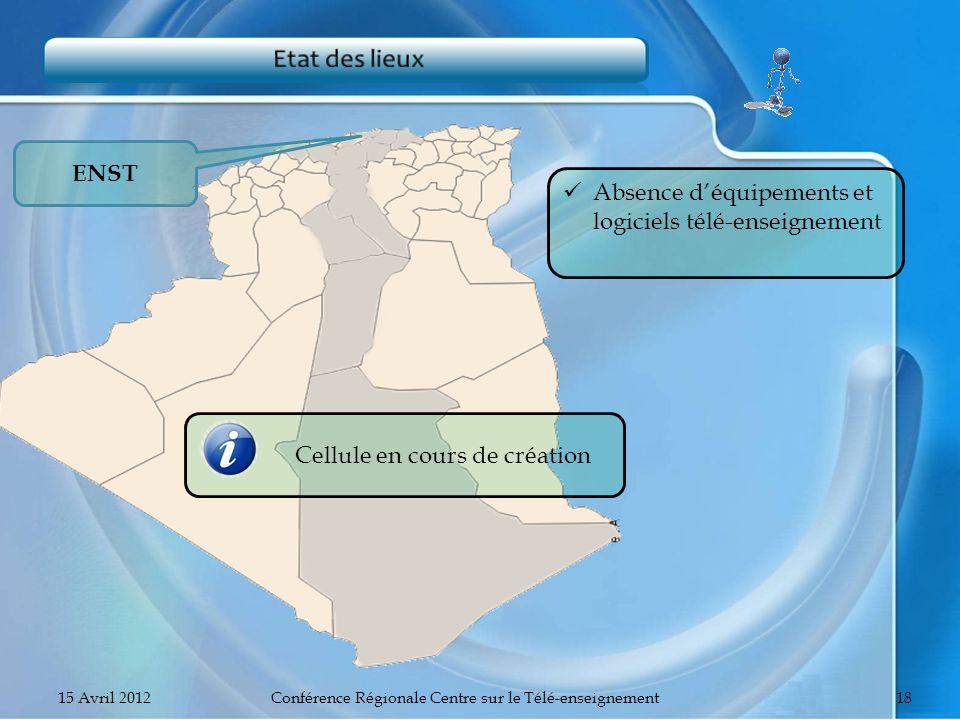 ENST Absence déquipements et logiciels télé-enseignement Cellule en cours de création 15 Avril 2012Conférence Régionale Centre sur le Télé-enseignemen