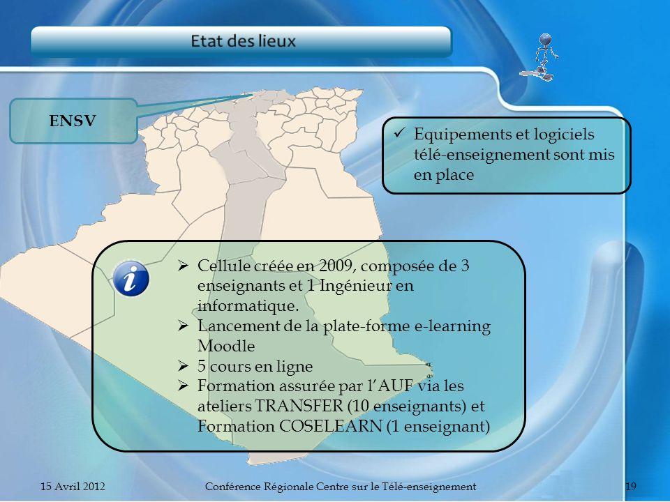 ENSV Equipements et logiciels télé-enseignement sont mis en place Cellule créée en 2009, composée de 3 enseignants et 1 Ingénieur en informatique. Lan