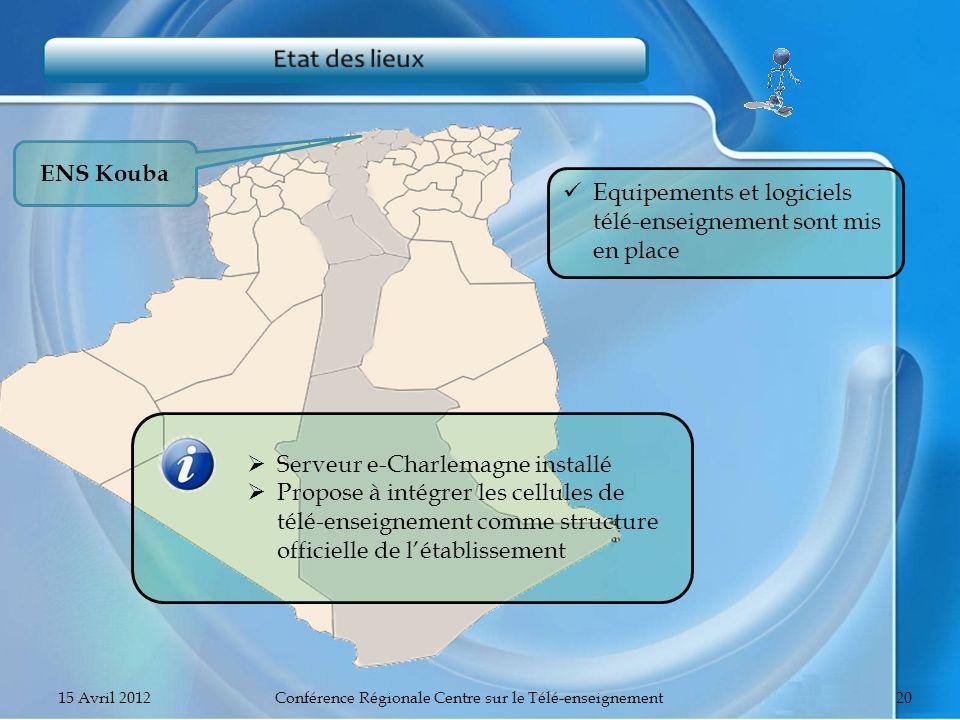 ENS Kouba Equipements et logiciels télé-enseignement sont mis en place Serveur e-Charlemagne installé Propose à intégrer les cellules de télé-enseigne