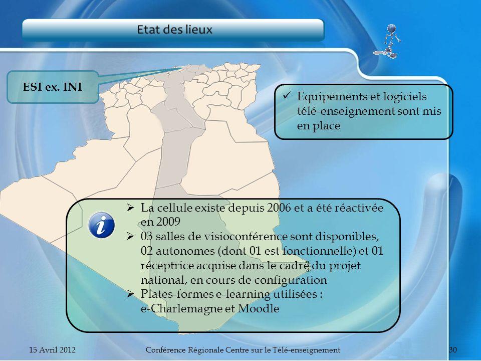 ESI ex. INI Equipements et logiciels télé-enseignement sont mis en place La cellule existe depuis 2006 et a été réactivée en 2009 03 salles de visioco