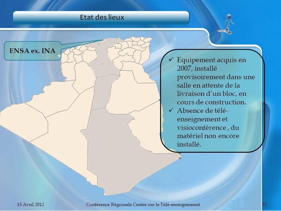 ENSA ex. INA Equipement acquis en 2007, installé provisoirement dans une salle en attente de la livraison dun bloc, en cours de construction. Absence