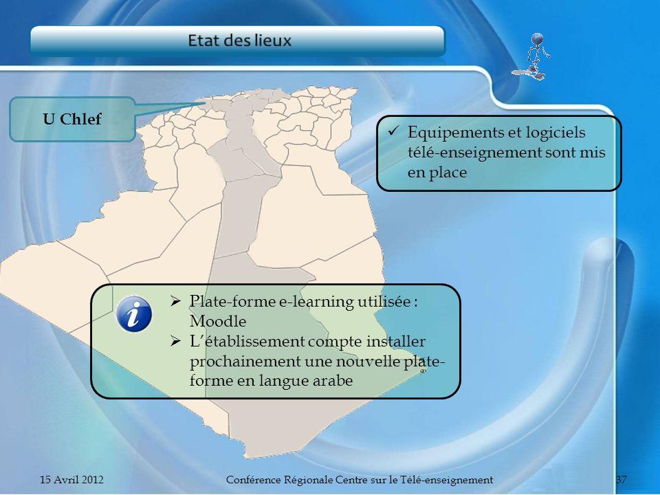 U Chlef Equipements et logiciels télé-enseignement sont mis en place Plate-forme e-learning utilisée : Moodle Létablissement compte installer prochain