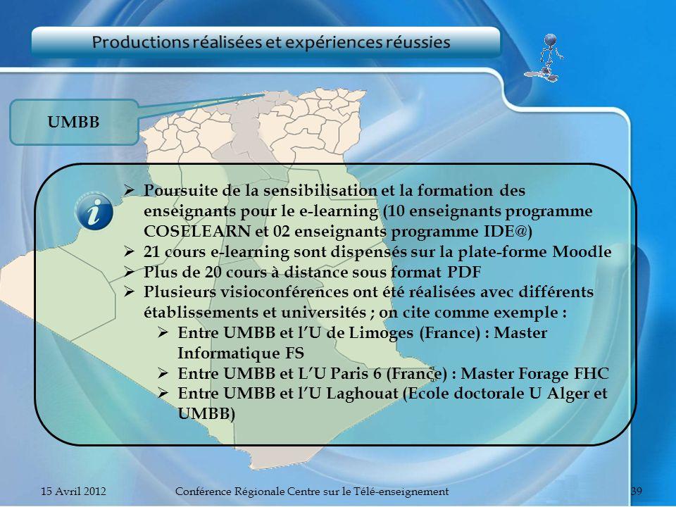UMBB Poursuite de la sensibilisation et la formation des enseignants pour le e-learning (10 enseignants programme COSELEARN et 02 enseignants programm