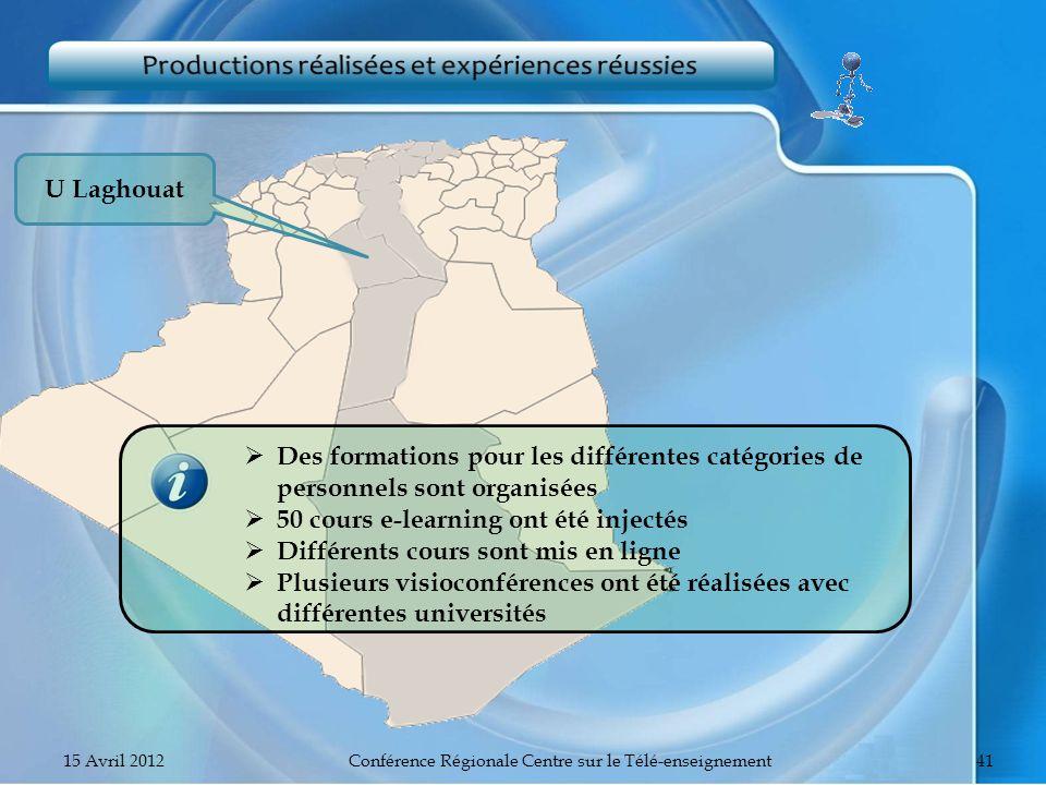 U Laghouat Des formations pour les différentes catégories de personnels sont organisées 50 cours e-learning ont été injectés Différents cours sont mis