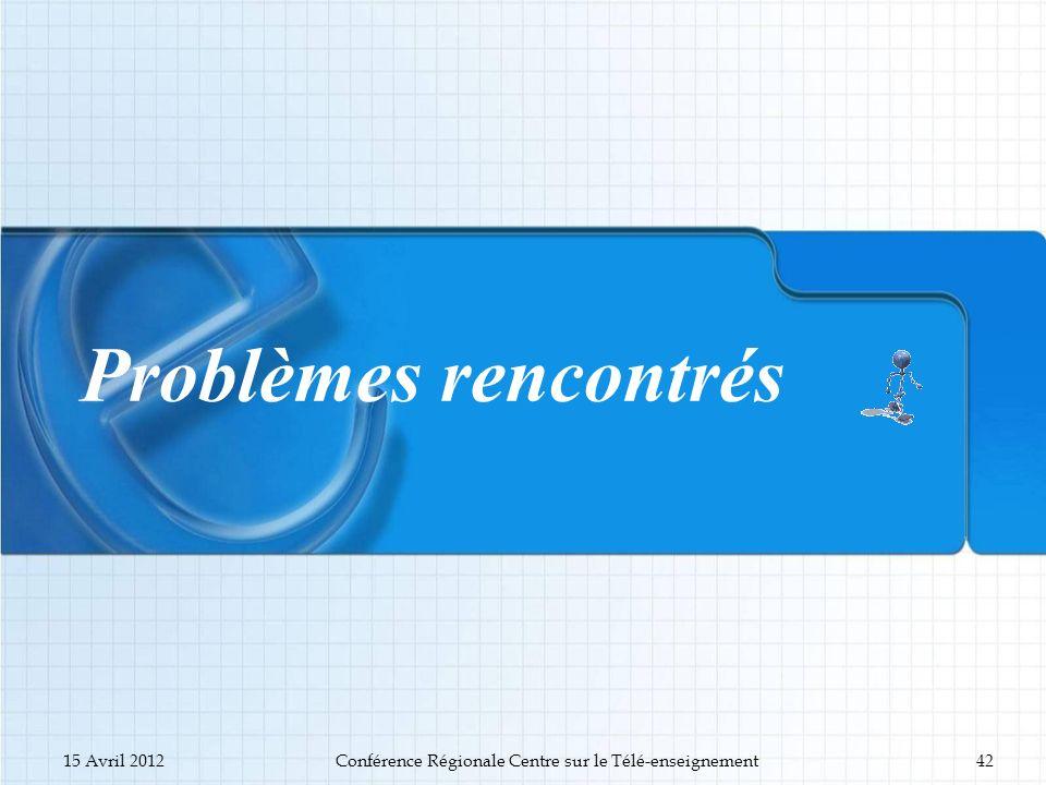 Problèmes rencontrés 15 Avril 2012Conférence Régionale Centre sur le Télé-enseignement42