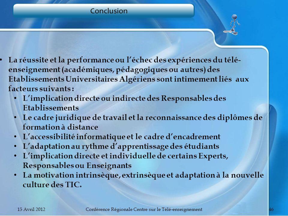 15 Avril 2012Conférence Régionale Centre sur le Télé-enseignement46 La réussite et la performance ou léchec des expériences du télé- enseignement (aca