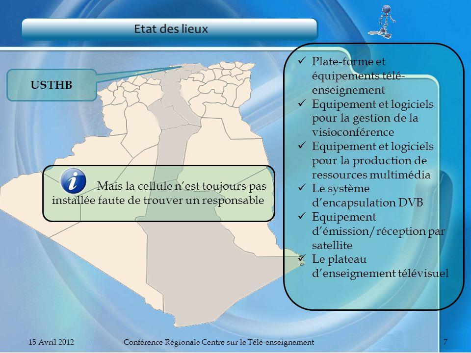 USTHB Plate-forme et équipements télé- enseignement Equipement et logiciels pour la gestion de la visioconférence Equipement et logiciels pour la prod