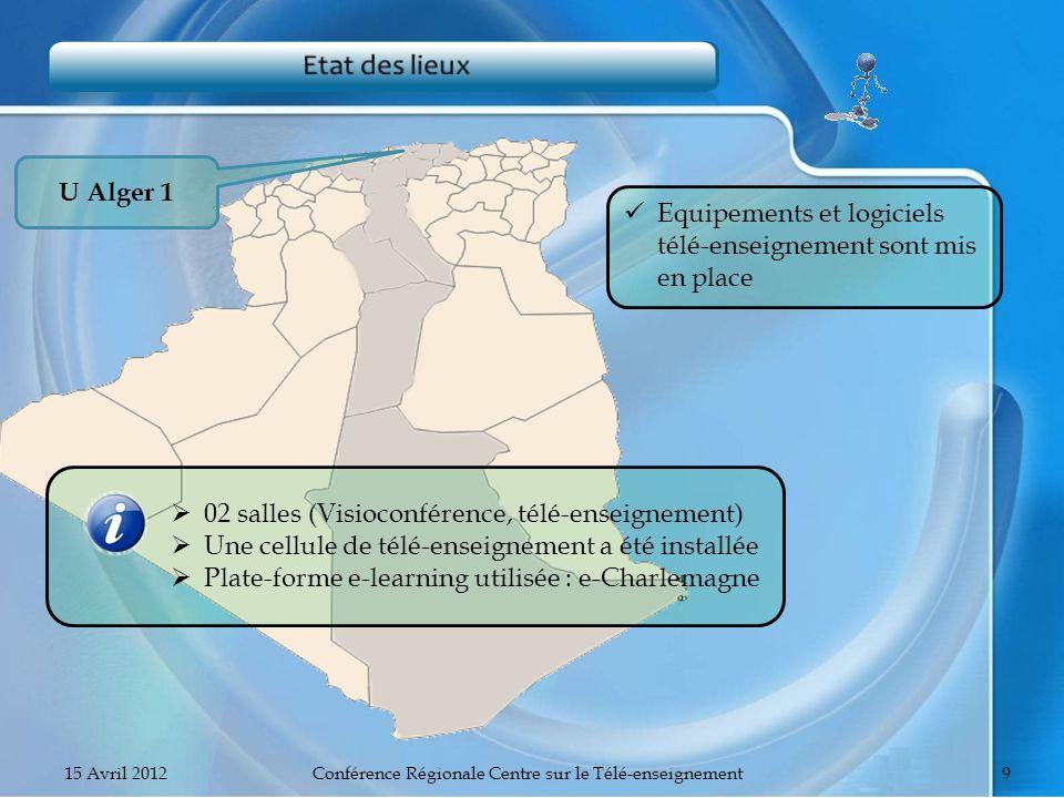 U Alger 1 Equipements et logiciels télé-enseignement sont mis en place 15 Avril 2012Conférence Régionale Centre sur le Télé-enseignement9 02 salles (V