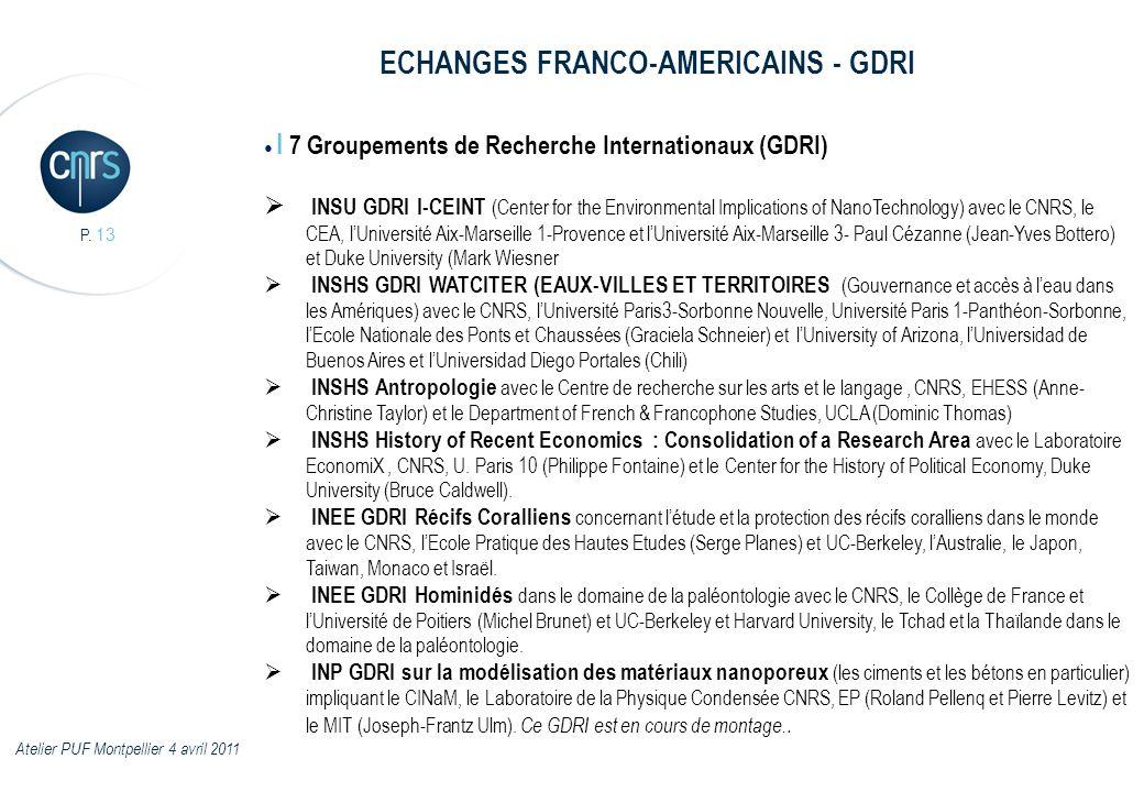 P. 13 I 7 Groupements de Recherche Internationaux (GDRI) INSU GDRI I-CEINT (Center for the Environmental Implications of NanoTechnology) avec le CNRS,