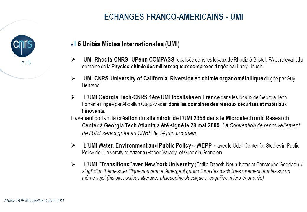 P. 15 I 5 Unités Mixtes Internationales (UMI) UMI Rhodia-CNRS- UPenn COMPASS localisée dans les locaux de Rhodia à Bristol, PA et relevant du domaine