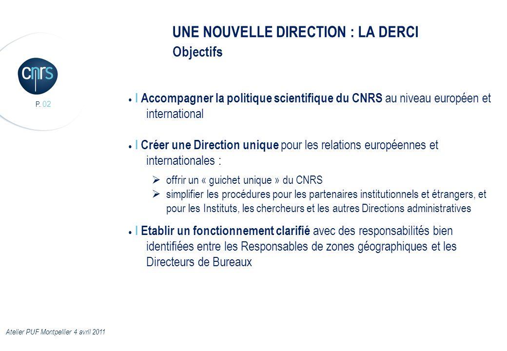 P. 02 UNE NOUVELLE DIRECTION : LA DERCI I Accompagner la politique scientifique du CNRS au niveau européen et international I Créer une Direction uniq