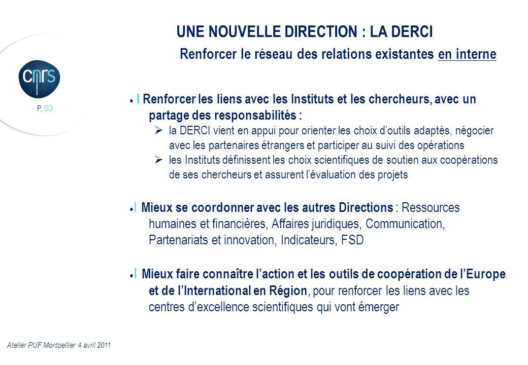 P. 03 I Renforcer les liens avec les Instituts et les chercheurs, avec un partage des responsabilités : la DERCI vient en appui pour orienter les choi