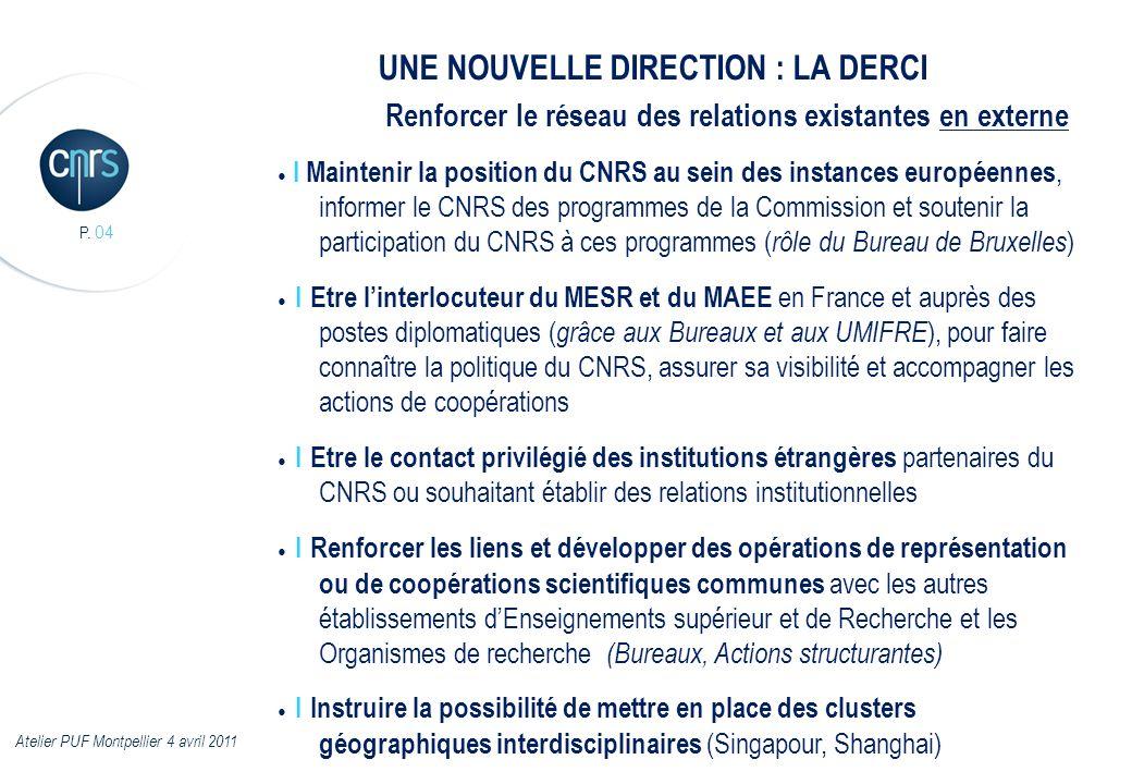 P. 04 I Maintenir la position du CNRS au sein des instances européennes, informer le CNRS des programmes de la Commission et soutenir la participation