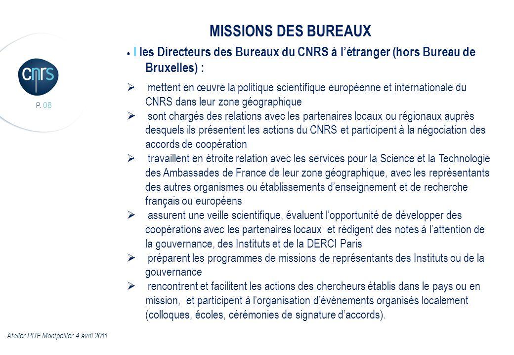 P. 08 I les Directeurs des Bureaux du CNRS à létranger (hors Bureau de Bruxelles) : mettent en œuvre la politique scientifique européenne et internati