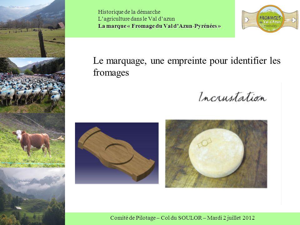 Comité de Pilotage – Col du SOULOR – Mardi 2 juillet 2012 La marque « Fromage du Val dAzun-Pyrénées » Historique de la démarche Lagriculture dans le Val dazun La marque « Fromage du Val dAzun-Pyrénées » Le marquage, une empreinte pour identifier les fromages