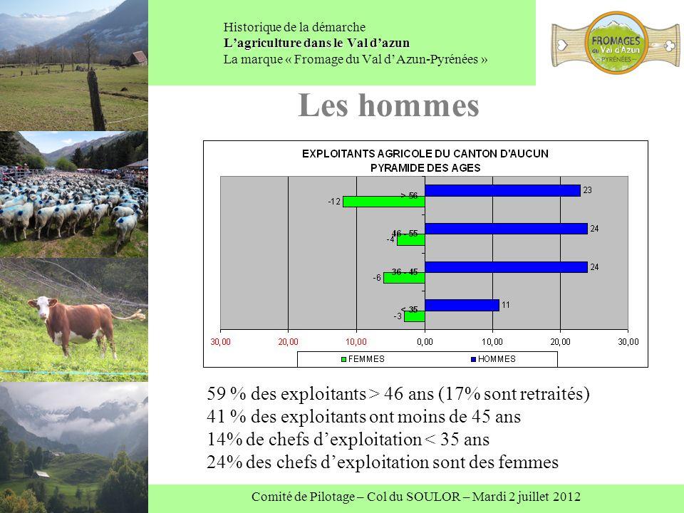 Comité de Pilotage – Col du SOULOR – Mardi 2 juillet 2012 Lagriculture dans le Val dazun Historique de la démarche Lagriculture dans le Val dazun La marque « Fromage du Val dAzun-Pyrénées » Les hommes 59 % des exploitants > 46 ans (17% sont retraités) 41 % des exploitants ont moins de 45 ans 14% de chefs dexploitation < 35 ans 24% des chefs dexploitation sont des femmes
