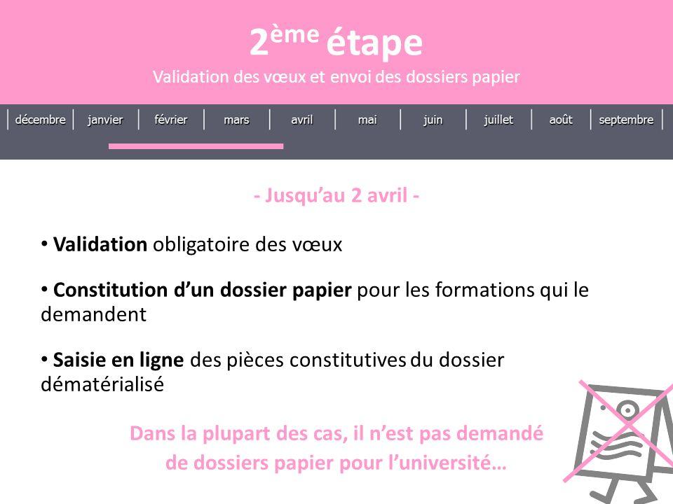- Jusquau 2 avril - Validation obligatoire des vœux Constitution dun dossier papier pour les formations qui le demandent Saisie en ligne des pièces co