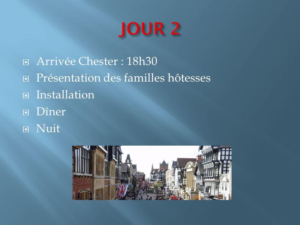 Route vers Chester Arrêt petit-déjeuner (non-inclus) Arrêt à Stratford Upon Avon vers 12h : déjeuner et visite de la ville Départ 15h