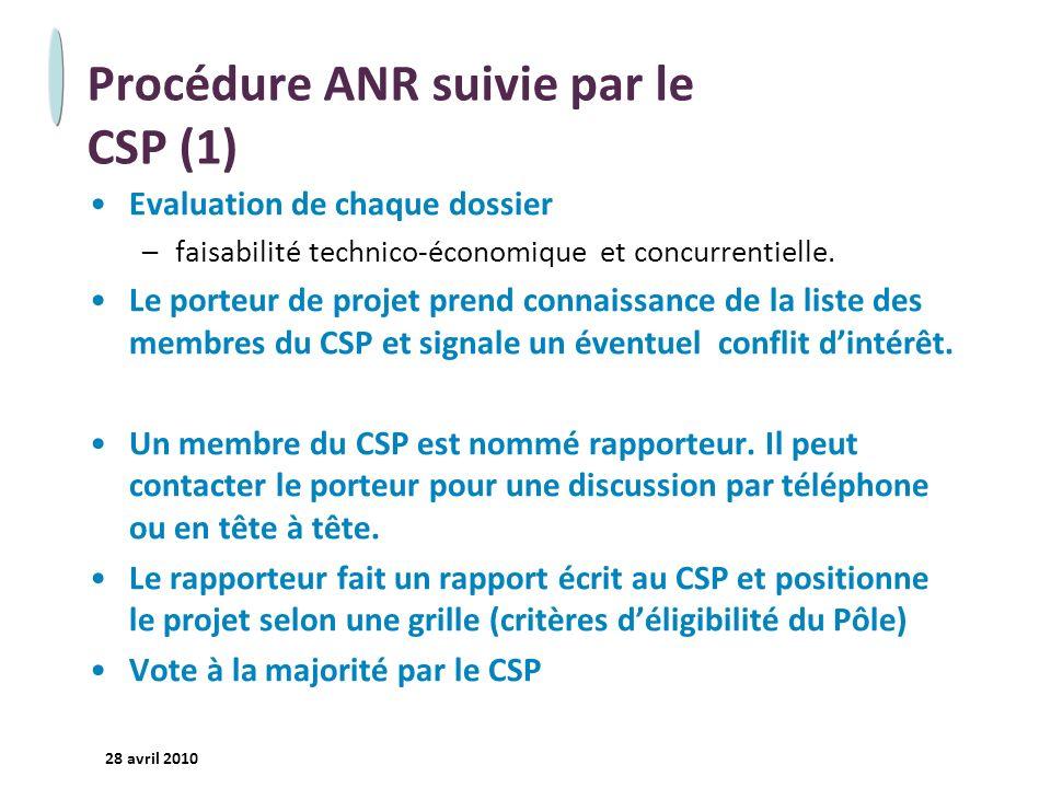 - 17 - 28 avril 2010 Procédure ANR suivie par le CSP (1) Evaluation de chaque dossier –faisabilité technico-économique et concurrentielle. Le porteur