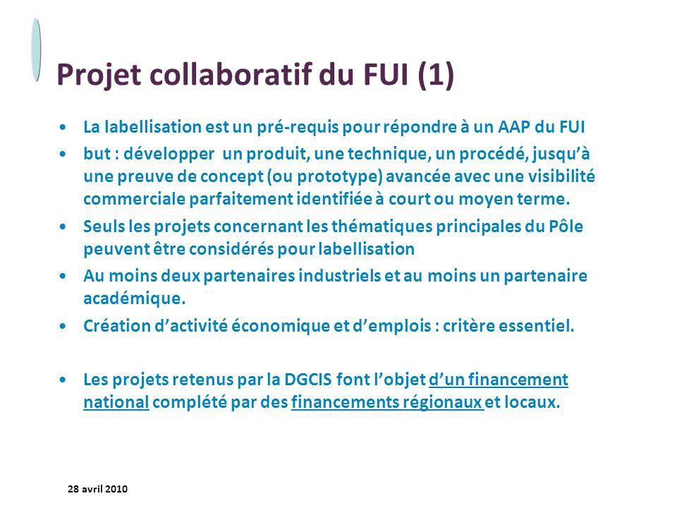 - 20 - 28 avril 2010 Projet collaboratif du FUI (1) La labellisation est un pré-requis pour répondre à un AAP du FUI but : développer un produit, une