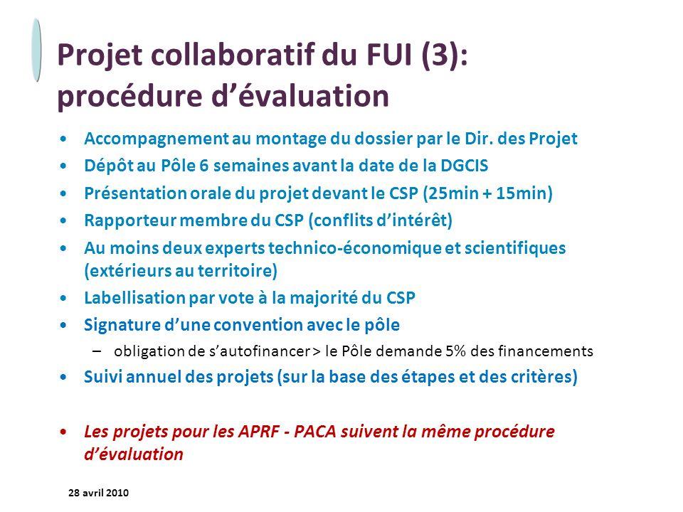 - 22 - 28 avril 2010 Projet collaboratif du FUI (3): procédure dévaluation Accompagnement au montage du dossier par le Dir. des Projet Dépôt au Pôle 6