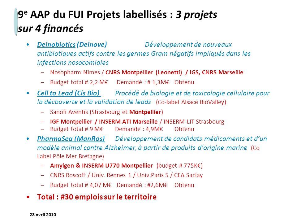 - 23 - 28 avril 2010 9 e AAP du FUI Projets labellisés : 3 projets sur 4 financés Deinobiotics (Deinove) Développement de nouveaux antibiotiques actif