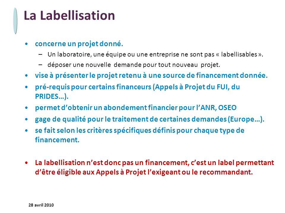 - 7 - 28 avril 2010 La Labellisation concerne un projet donné. –Un laboratoire, une équipe ou une entreprise ne sont pas « labellisables ». –déposer u