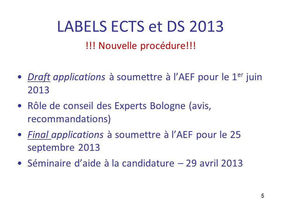 5 LABELS ECTS et DS 2013 !!. Nouvelle procédure!!.