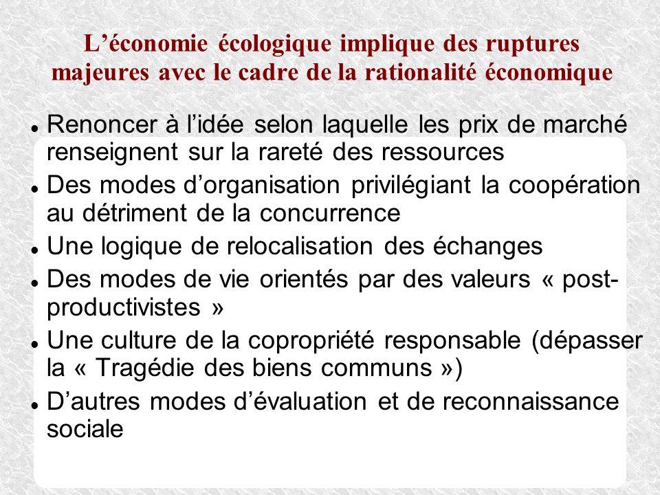 Léconomie écologique implique des ruptures majeures avec le cadre de la rationalité économique Renoncer à lidée selon laquelle les prix de marché rens