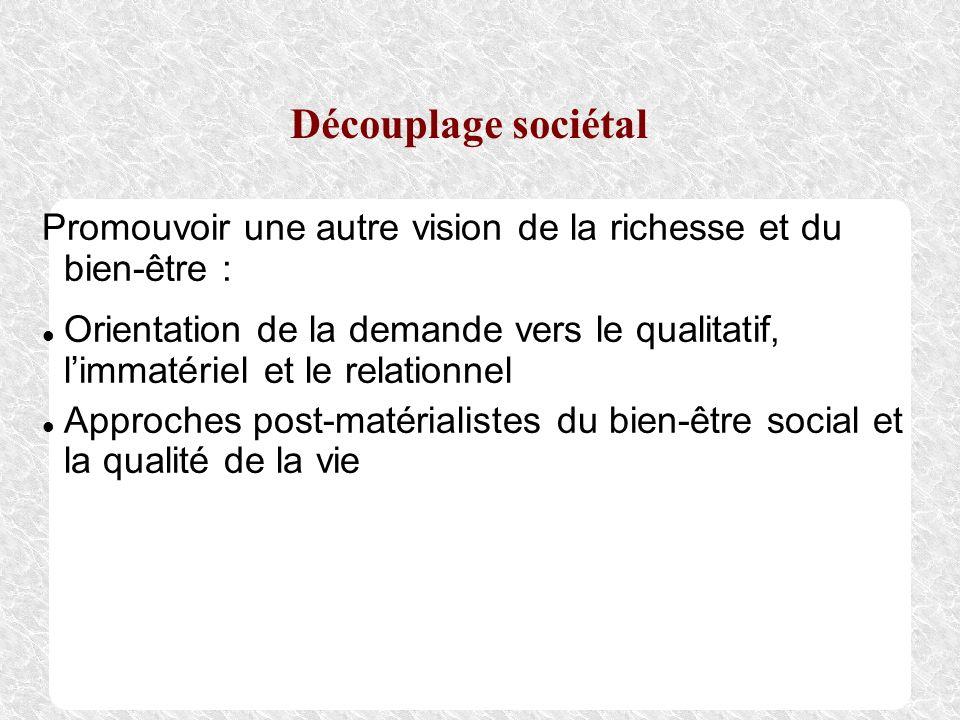 Découplage sociétal Promouvoir une autre vision de la richesse et du bien-être : Orientation de la demande vers le qualitatif, limmatériel et le relat