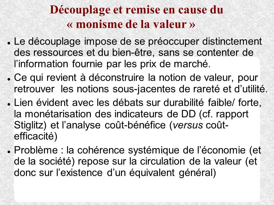 Découplage et remise en cause du « monisme de la valeur » Le découplage impose de se préoccuper distinctement des ressources et du bien-être, sans se