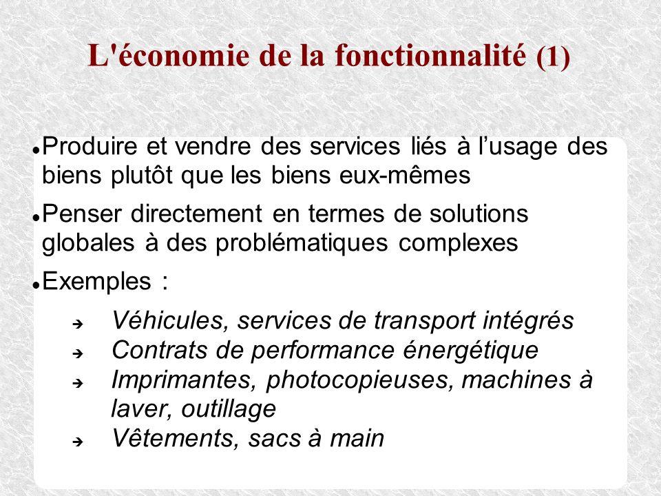 L'économie de la fonctionnalité (1) Produire et vendre des services liés à lusage des biens plutôt que les biens eux-mêmes Penser directement en terme
