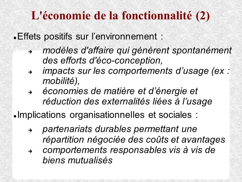 L'économie de la fonctionnalité (2) Effets positifs sur lenvironnement : modèles d'affaire qui génèrent spontanément des efforts d'éco-conception, imp