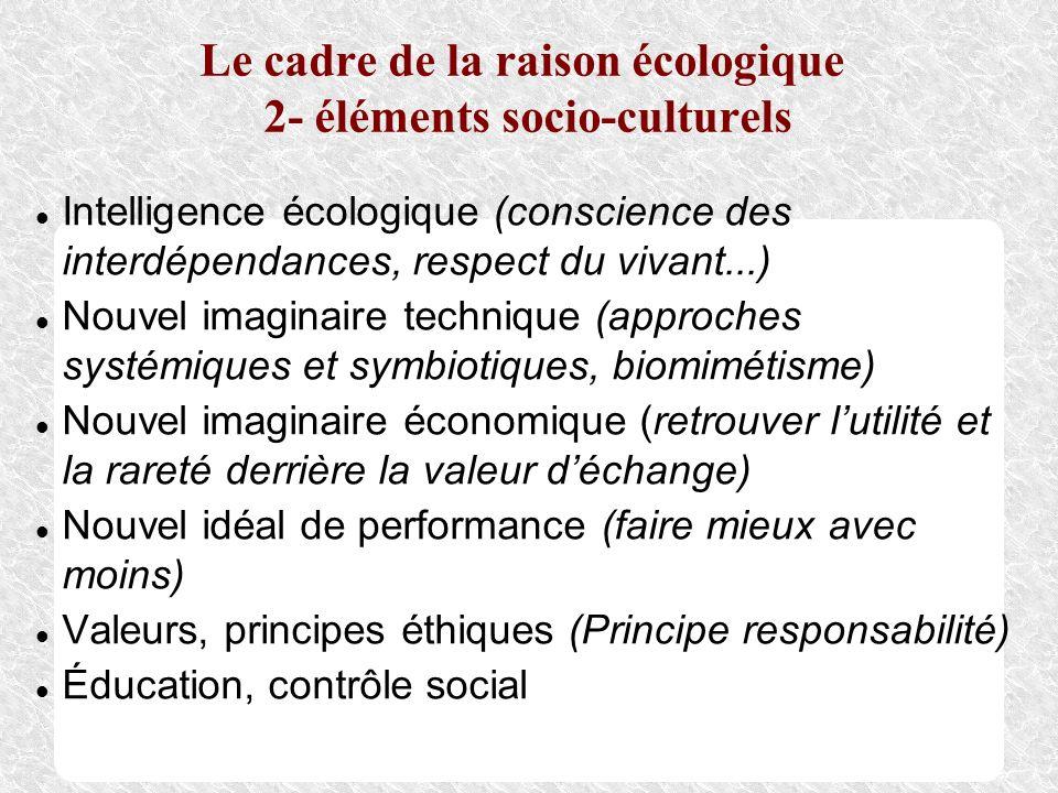 Le cadre de la raison écologique 2- éléments socio-culturels Intelligence écologique (conscience des interdépendances, respect du vivant...) Nouvel im