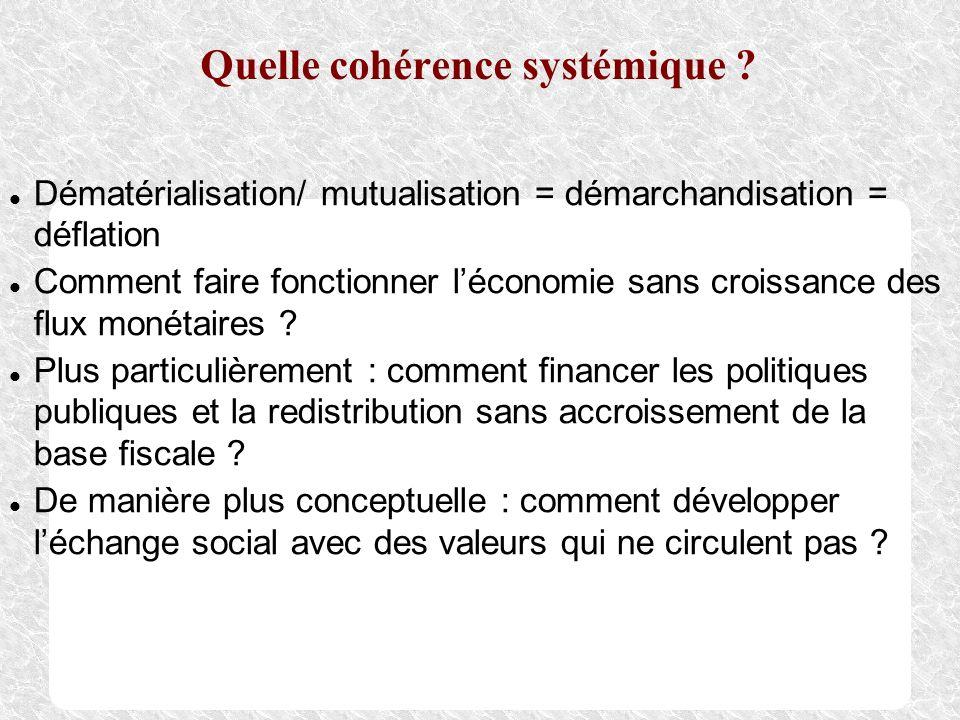 Quelle cohérence systémique ? Dématérialisation/ mutualisation = démarchandisation = déflation Comment faire fonctionner léconomie sans croissance des