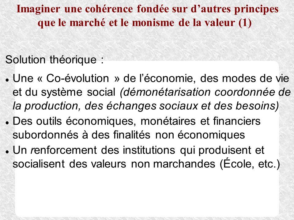 Imaginer une cohérence fondée sur dautres principes que le marché et le monisme de la valeur (1) Solution théorique : Une « Co-évolution » de léconomi