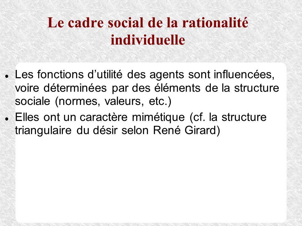 Le cadre social de la rationalité individuelle Les fonctions dutilité des agents sont influencées, voire déterminées par des éléments de la structure