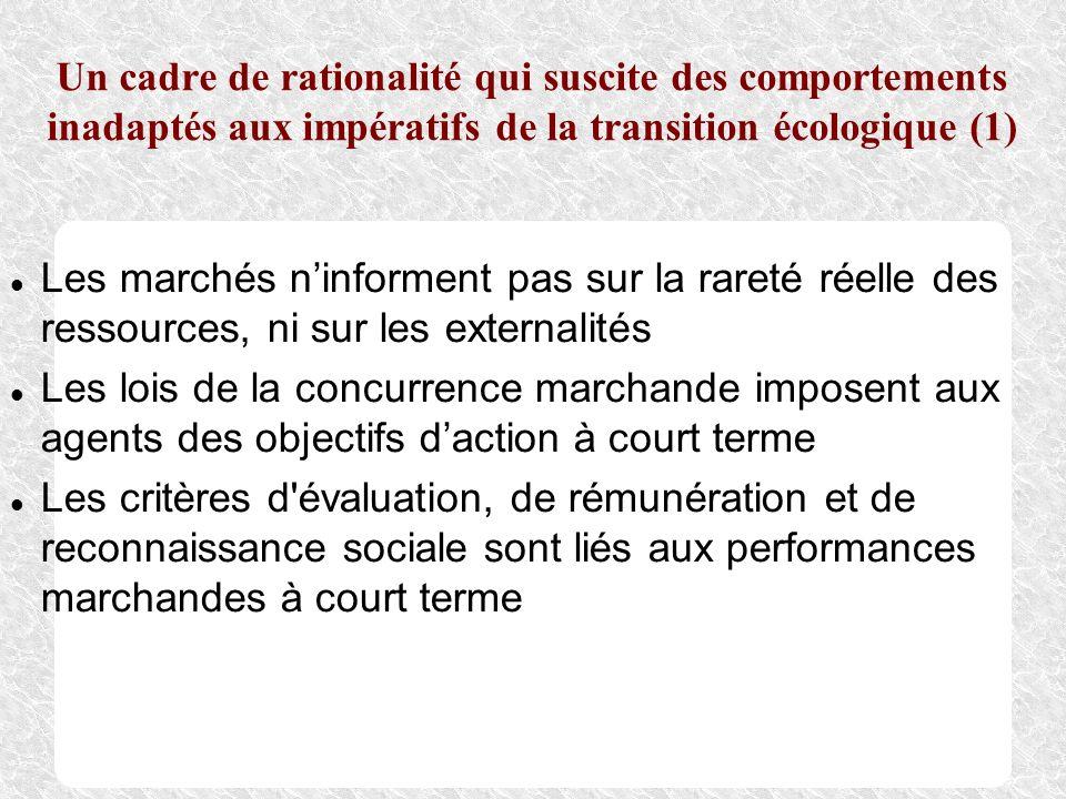 Un cadre de rationalité qui suscite des comportements inadaptés aux impératifs de la transition écologique (1) Les marchés ninforment pas sur la raret