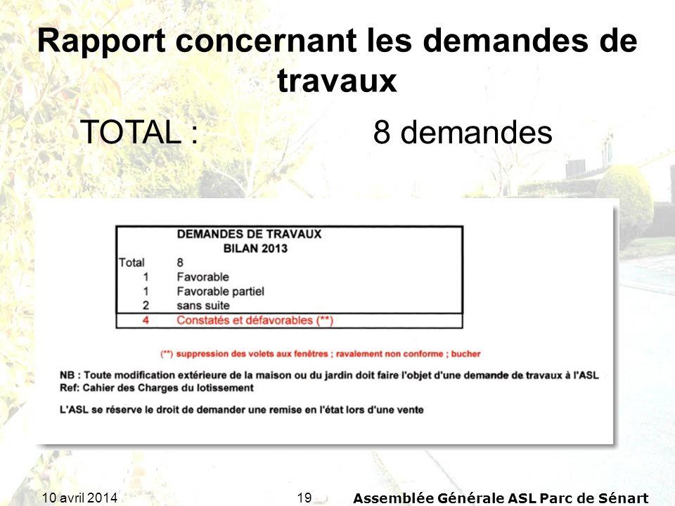 1910 avril 2014Assemblée Générale ASL Parc de Sénart TOTAL : 8 demandes Rapport concernant les demandes de travaux