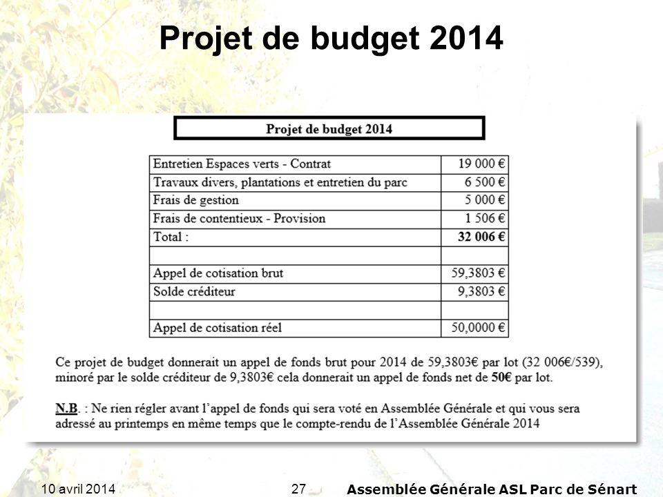 2710 avril 2014Assemblée Générale ASL Parc de Sénart Projet de budget 2014