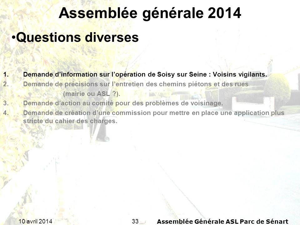 3310 avril 2014Assemblée Générale ASL Parc de Sénart Assemblée générale 2014 1.Demande dinformation sur lopération de Soisy sur Seine : Voisins vigila