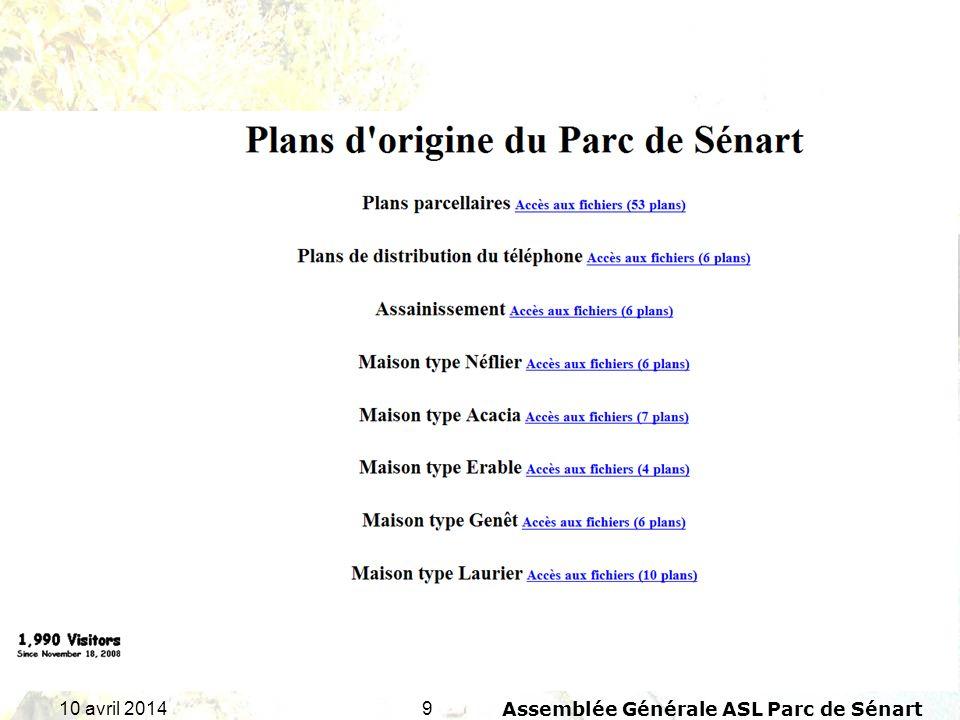 2010 avril 2014Assemblée Générale ASL Parc de Sénart Rapport financier de lexercice 2013